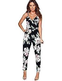 Mono Clubwear Bodycon Mujeres,Pantalones de Traje de Fiesta Floral Playsuit de Mujer