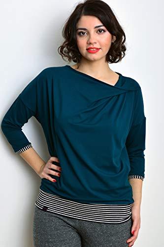 Damen Jerseyshirt CORDULA petrol Streifen Pullover Shirt von STADTKIND POTSDAM
