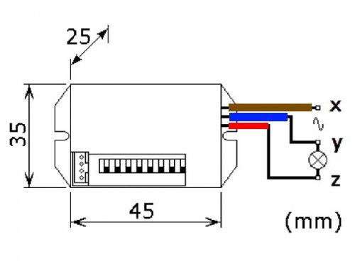 Mini PIR Bewegungsmelder 230V zum Einbau max Schaltleistung 800 Watt - 3