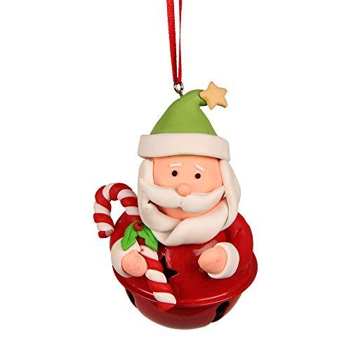 Hänger Santa mit Glöckchen, Material: Fimo, Metall, H 9 cm -