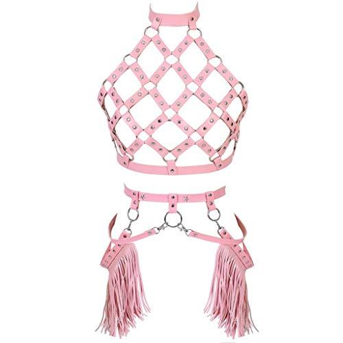 DFChenXi Charme Nacht Frauen Sexy PU Leder Brust Body Harness Gürtel Quaste Dessous Schnallen mit O Ring Gothic Harness BH Set Plus Größe Sexy Rave Dance -