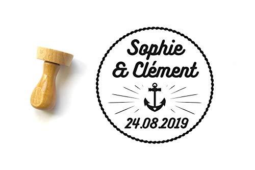 Personalisierter Stempel mit Namen und Datum, Marinestil, Marineanker, Hochzeit Papeterie, runde Form 4 cm