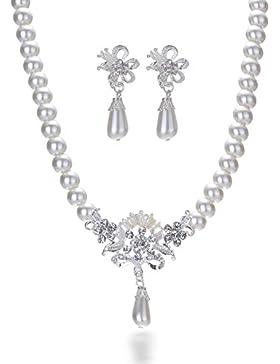 Miya® mega glamour Schmuckset Perle Halskette Kette mit Kristall Blumen und Ohrringe, Brautschmuck Hochzeit Abendveranstaltung...