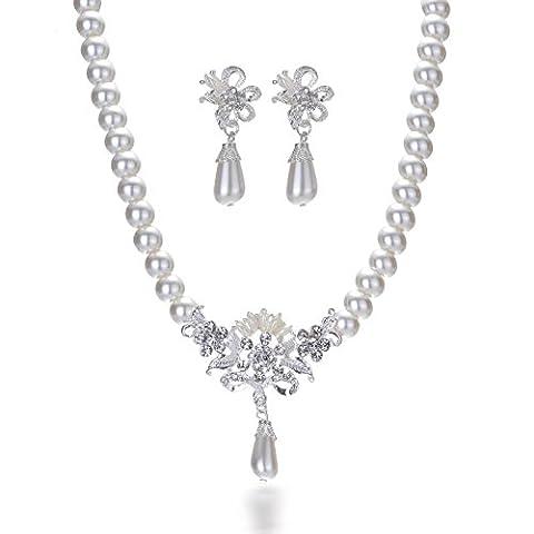 Miya ® mega glamour parure de bijoux à perles collier et boucles d'oreilles avec fleurs-bijoux de mariée mariage abendveranstaltung party jugendweihe de bijoux