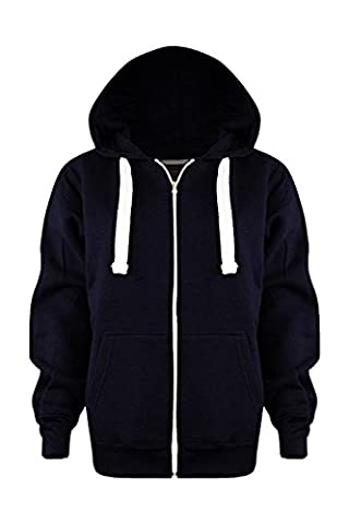 Vanilla Inc® Boys Girls Junior New Zip Top PLAIN Fleece Hooded Sports HOODIE Football Boxing Martial Art Activewear Fitness Jacket School Holidays Outwear Coat 3-13 Yr (Age 9-10 Years, Navy Blue)