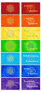 atalantes spirit Blume des Lebens Chakrakarten - 7 Stück, Chakraset - Chakrenbild Balance Lebensblume - Bunt Kunststoff