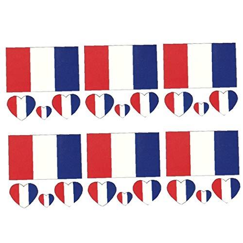 Culer Frankreich Flagge Tattoos Sticker Wasserdicht Temporäre Tattoos Sweatproof Gesichts-Körper-Dekor-Aufkleber Partydekoration 6pcs / Set