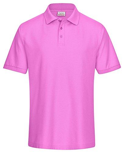 CaptainWorkwear Poloshirt Piqué Unisex für Damen und Herren - Kurzarm T-Shirt einfarbig - Pink 4XL