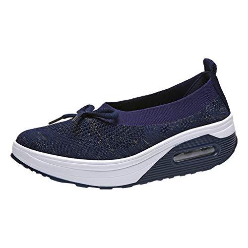 Sommer Sneaker Damen,Mode Casual Wedge Platform Loafers Segeltuchschuhe Turnschuhe Dicke Bottom Shake Schuhe Bequem Sportschuhe