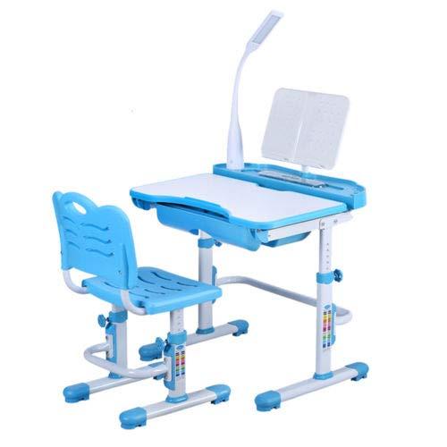 BTdahong Kinderschreibtisch und Stuhl LED Intelligente Gesundheit Augenlampe 220V, Desktop 38 * 70cm Höhenverstellbar Neigbar (Blau)