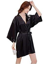 Camisones Camisas Seda Femenina Tentación Bordada Pijamas Mujeres Verano Medio Casuales Hielo Bata Albornoz Manga Larga