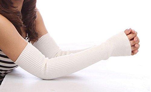 erioctry Modische Damen-Handschuhe, gestrickt, fingerlos, Lange Ärmel, Lange Arme, warm, Lange Arme, Fingerlose Handschuhe, Damen, weiß, 50cm -