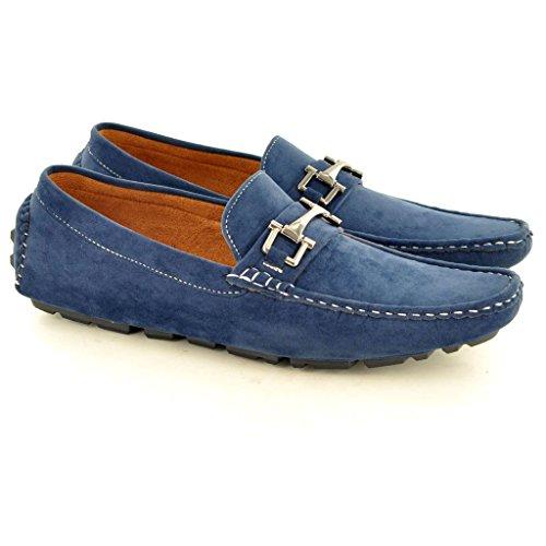 Herren-Mokassins aus Kunst-Wildleder, Slip-On-Schuhe, Halbschuhe Marineblau