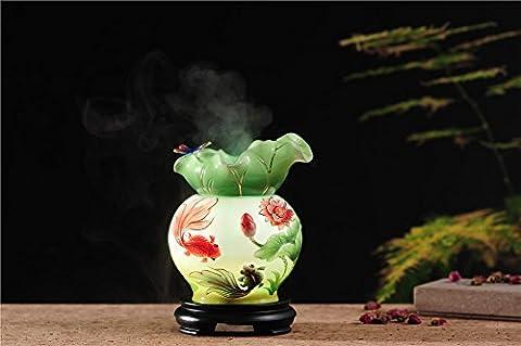 PROW® 370ML Schöne exquisit Lotus Goldfish Keramik Aromatherapie ätherisches Öl diffusor Luftbefeuchter mit 7 LED Farbe ändern Lampen und wasserlose Automatisch Abschaltung Timing Gerät Einstellungen