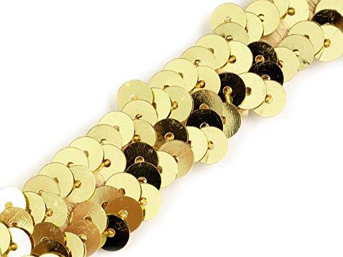 Stoffe-Online-Shop Stretch-Pailletten, Paillettenband, Paillettenborte elastisch, in Silber, rot, Gold und rosa erhältlich, Breite 20mm, VE: 1m (Gold)