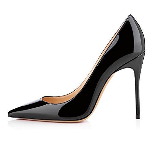 EDEFS Femmes Artisan Fashion Escarpins Classiques Pointus Des Couleurs Chaussures à talon haut de 100mm Bleu Clair Noir Brillant