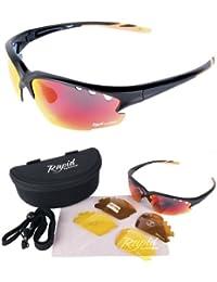 Expert Schwarz matt verspiegelt SPORT SONNENBRILLE – Wechselgläser - ideal autobrille, nachtbrille, running brille, segeln brille usw. UV schutz 400. Für Herren und Damen