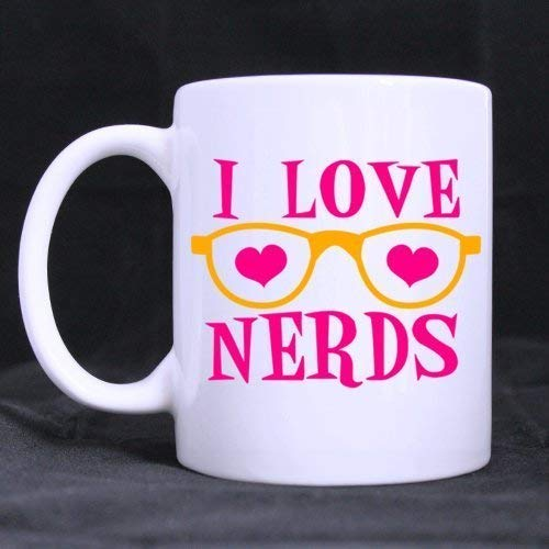 White Mug - New Romantic Design 'I Love Nerds' Ceramic Coffee White Mug (11 Ounce) - Best Houseware/Necessities/Gift for Lover/Valentine's Day/Useful Choice