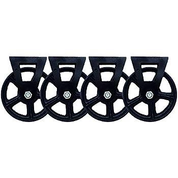 DGXQ /Ø6 Pouces//150mm roulettes de Remplacement Robustes,Roues /à Plaques Industrielles,Fixation,R/étro,Durable,1200lb,Fer /à Repasser,4 Pcs