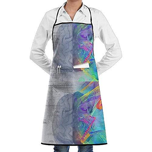 UQ Galaxy Gärtnerschürze,Links Rechts Gehirn Schürze Spitze Adult Chef Einstellbare Lange Vollschwarz Kochen Küchenschürzen Lätzchen Mit Taschen zum Backen Crafting - Link Kostüm Zum Verkauf