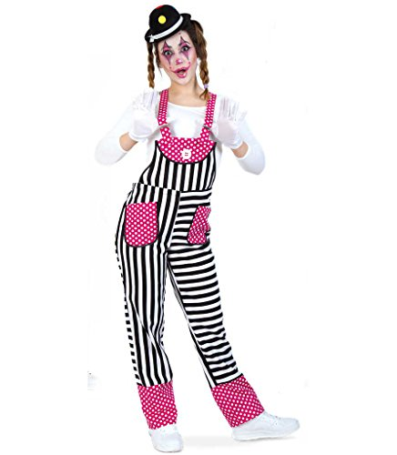 Latzhose 'Funny' Karnevals-Outfit-Clown rosa-weiß (S)