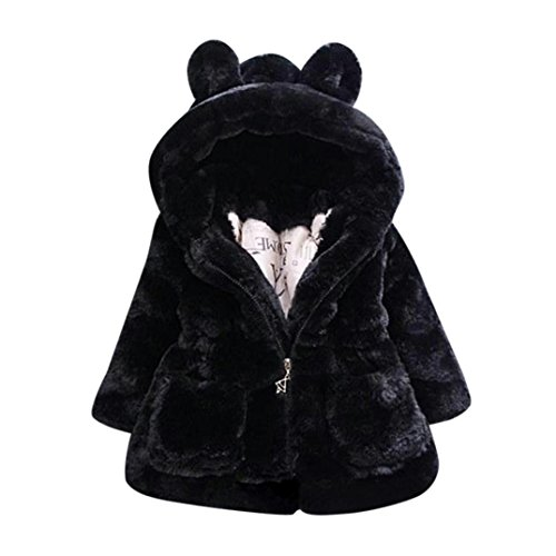 Beautytop cappotto bambina invernale autunno giacca mantello bambini manica lunga con cappuccio abbigliamento esterno cappotti top (nero, 3-4 anni)