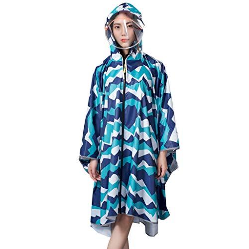 UUNDD Wasserdichter Militärregenponcho Leichter wiederverwendbarer wandernder Regenmantel-Jacke-transparenter Hut-Reitreise-Langer Regenmantel (Farbe : A, größe : L) -