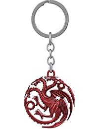 Key Era The Logo Man Red Game Of Thrones Targaryen Dragon Blood & Fire Metal Keychain & Keyring For Bikes, Cars...