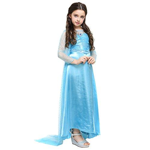 Imagen de katara 1688  disfraz de princesa elsa de frozen  vestido de la reina del hielo con cola larga y diamante para niñas de 4  5 años, color azul alternativa