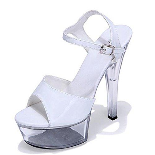 W&LMScarpe di cristallo sandali Tacchi alti Piattaforma impermeabile Spessore inferiore Scarpe fibbia della cintura Scarpe modello 36