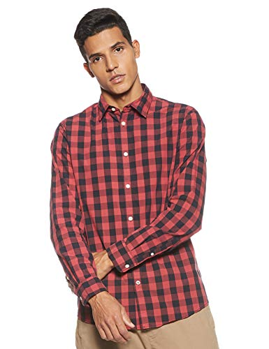 JACK & JONES Herren JJEGINGHAM Shirt L/S Freizeithemd, Mehrfarbig (Brick Red Checks:Mixed Black), Medium