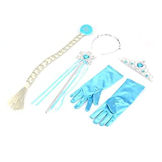 Detectoy Glove Palm, 5 Pcs Cosplay Crown Tiara Hair Accessory Crown Wig + Magic Wand For Elsa Anna Great Costume for Party Performance