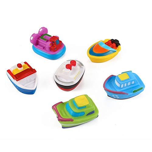 urfs-schwimmendes Boot, das Bad-Spielzeug-Vinyl-Baby-Bad-Spielzeug 6-Piece spritzt ()