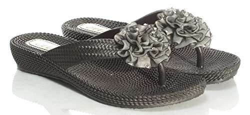 Damen Beach Damen Mule Sandale Komfort Ella Dani UK Größen 3–8 Schwarz