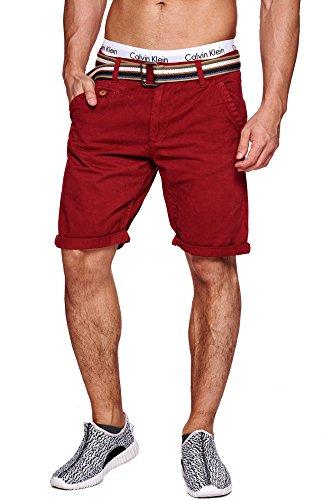 INDICODE Herren Cuba Shorts Bermuda kurze Hose inkl. Gürtel Rot Tomato L (Kurze Super Shorts)