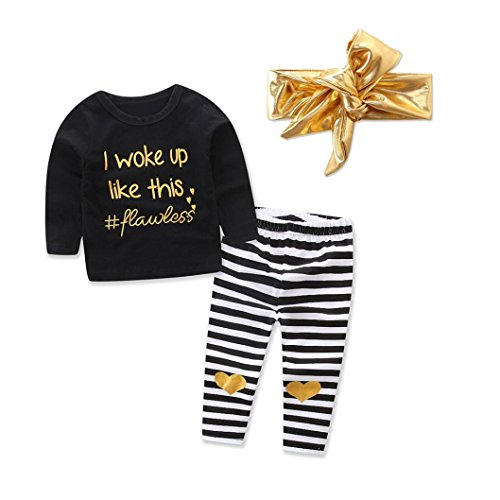KaloryWee Baby Outfits, Infant Baby Girl Letter T Shirt Tops+Heart Striped Pants Outfits Clothes Set