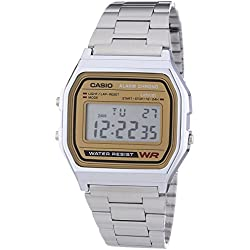 Casio Men's Quartz Watch with Gold Dial Digital Display and Silver Stainless Steel Bracelet A158WEA-9EF