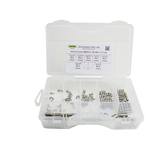 Sortiment/Set Edelstahl Madenschrauben DIN 913 - M2 bis M8 - VA A2 V2A - Gewindestifte mit Kegelkuppe - 170 Teile