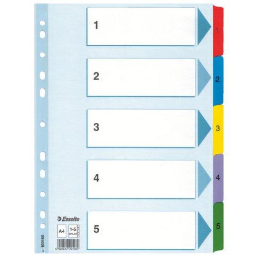Esselte Kartonregister 1-5, A4, Karton, 5 Blatt, Mehrfarbig