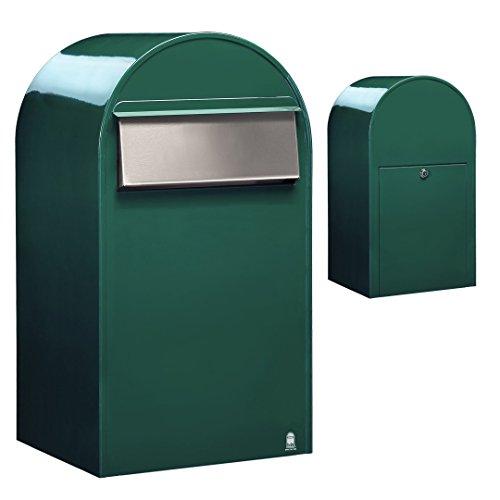 Bobi Grande B Briefkasten RAL 6005 grün, Klappe aus Edelstahl Zaunbriefkasten