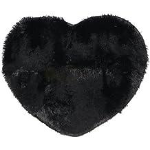 MagiDeal Alfombras de Piso Forma de Corazón Alfombra Antideslizante de Suelo Accesorio de Cuarto de Baño de Comedor de Hogar 70*60CM - Negro