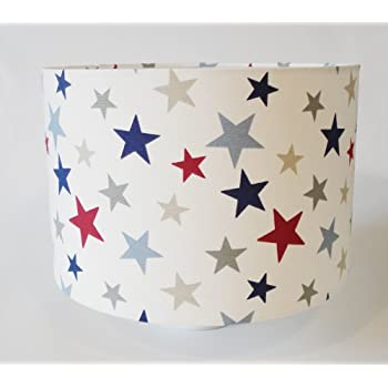 Star Fabric Lampshade Large Red Blue Grey Stars Amazon Co