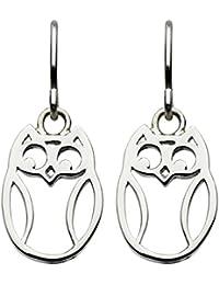 Dew Sterling Silver Owl Drop Earrings