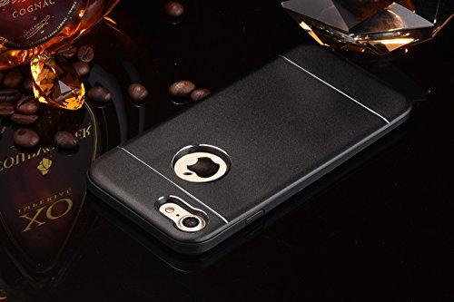 iPhone Case Cover Solid Color Line Effekt Metall + Kunststoff Silikon Hard Back Abdeckung für Apple IPhone 7 & 7 Plus ( Color : Rose Gold , Size : IPhone 7 ) Black