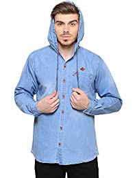 Kuons Avenue Men's Medium Blue Solid Hooded Long Sleeve Denim Casual Shirt Cum Jacket