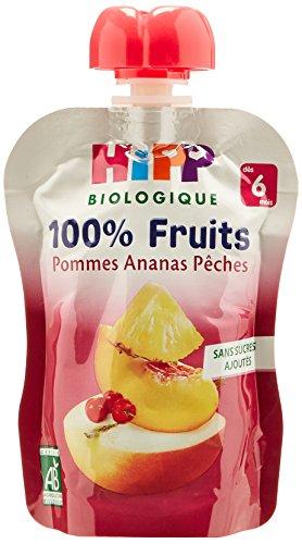 Hipp Biologique 100% Fruits Pommes Ananas Pêches  dès 6 mois - 6 gourdes de 90 g