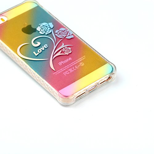 """iPhone 5s Silikonhülle, Mode Elegante CLTPY iPhone SE Slim Fit Schutzfall Funkelnder Glänzend Plating Design Case mit Verstärkte Ecken, Ultra Schlanke Hybrid Schale Fall für 4.0"""" Apple iPhone 5/5s/SE  Liebe Rosen"""