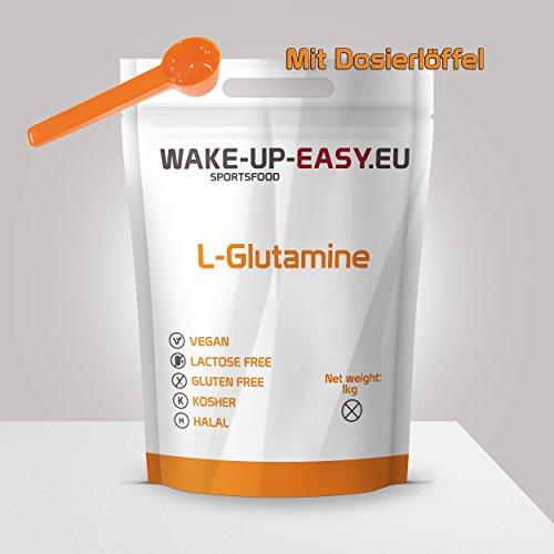 L-Glutamin Pulver 1Kg, n-essentielle, proteinogene a- Aminosäure + Dosierlöffel, (1000g reines Glutamin ohne Zusätze)