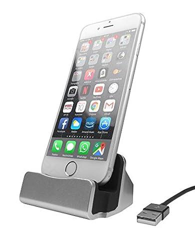 HubLines® - Premium Lade und Dockingstation für Smartphone mit Lightning Stecker Kompatibel mit Apple iPhone 7 / 7 Plus / 6 / 6 Plus / 6S / 6S Plus / 5 / 5S / 5C / SE / iPod Touch 5. Gen / 6. Gen. - Desktop-Dock/Ladegerät/Ladehalterung - Halter/Ständer/Cradle/Ständer/Pack/Dock/MiniDock