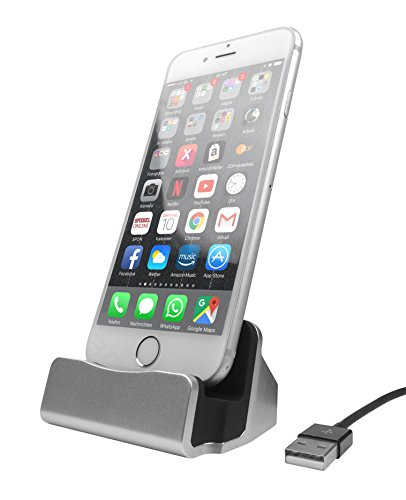 HubLines® - Premium Lade und Dockingstation für Smartphone mit Lightning Stecker Kompatibel mit Apple iPhone 7 / 7 Plus / 6 / 6 Plus / 6S / 6S Plus / 5 / 5S / 5C / SE / iPod Touch 5. Gen / 6. Gen. - Desktop-Dock/Ladegerät/Ladehalterung - Halter/Ständer/Cradle/Ständer/Pack/Dock/MiniDock